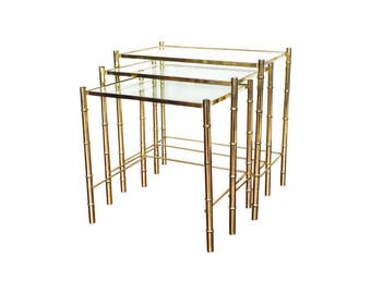 Vintage Brass Bamboo Nesting Tables / Set of 3