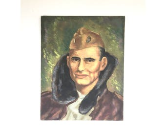 Vintage Oil Painting Portrait of a Soldier