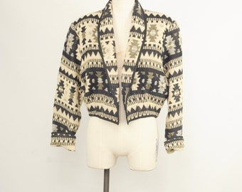 80s Southwestern Woven Knit Cropped Jacket Womens size Large