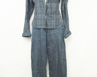 Vintage Gianni Versace Blue Linen two piece blazer and trousers size 40 size 6
