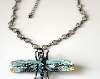 Black Dragonfly Pendant/Pin Necklace with Black Crystal Chaton Chain