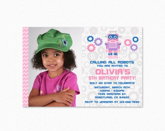 Robot Birthday Party Invitation, Robot Invites, Girl Robot, Robot Party, Pink, Purple, Printable, PERSONALIZE