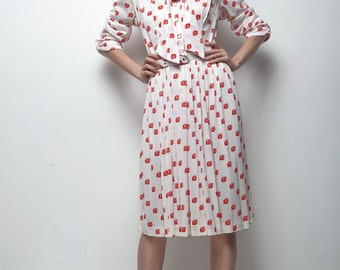 SALE 70s secretary dress graphic red white pleated skirt long sleeves LARGE L