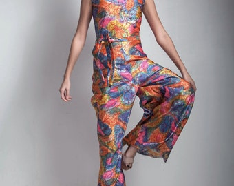 SALE palazzo jumpsuit vintage 1970s colorful neon psychedelic graphic print disco queen SMALL S