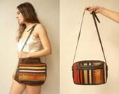 1970's Vintage Leather & Kilim Tapestry Satchel Messenger Saddle Bag Carpet Bag