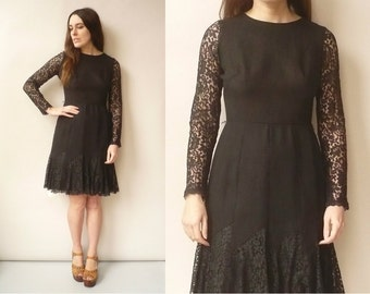 1960's Vintage Black Fitted Gothic Lace Mini Shift Dress Size XS