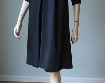 Rare 1950s French Couturier Jacques Fath - High Fashion LBD Silk Taffeta and Crepe Dress - Wear Day or Night - Avant Garde Style - Small