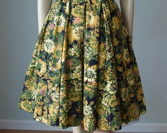 RESERVED Alfred Shaheen Strappy Cotton Floral Print Hawaiian Dress with Full Pleated Skirt / Shelf Bust / Smocked Bodice / XSmall