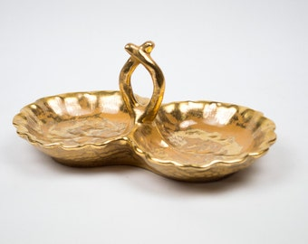 Vintage Double Gilded Gold Dish for Soaps, Candy, Nuts, Ring Dish / Stangl Grenada Gold