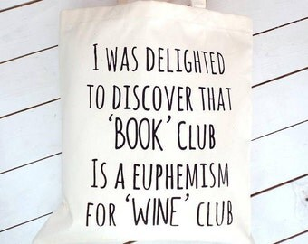 Book Club Wine Club | Book Club Gifts | Book Lover Gifts | Wine Lover Gifts | Wine Gift | Book Gift | Gifts For Readers | Wine Knitting Bag