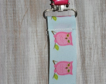 Baby girl pink owls on blue ribbon suspender binky clip