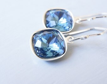 Earrings, Crystal Earrings, Blue Earrings, Dangle Earrings, Drop Earrings, Cushion Cut Earrings, Handmade Earrings, Denim Blue, Gift for Her