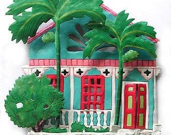 Metal Wall Art - Metal Art - Caribbean House, Metal Wall Decor, Gingerbread House, Tropical Art Design, Painted Metal Wall Art - K-1001-TQ