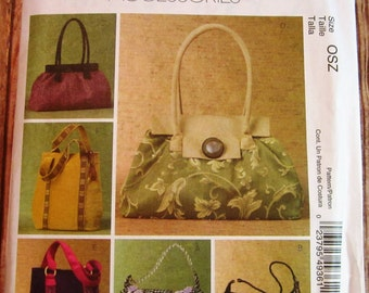 6 Lined Handbags with Inside Pockets McCalls Fashion Accessories Pattern M4936 UNCUT