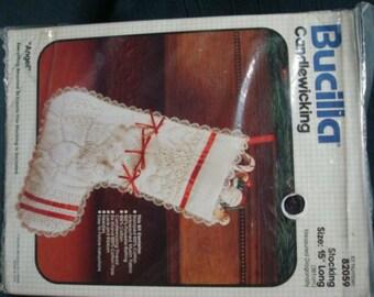Christmas Stocking Kit Bucilla Candlewicking Kit Angel Stocking Unopened Kit