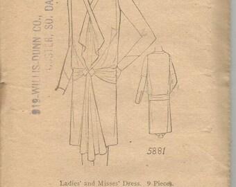 1920s Flapper V Neck Slip On Dress Jabot Godet Sleeve Variations Ladies Home Journal 5881 Unused FF Bust 36 Women's Vintage Sewing Pattern