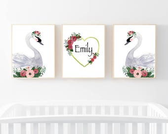 Swan Nursery Set, Custom create nursery set, Nursey art, nursery decor, baby shower gift.