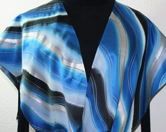 Blue Silk Scarf Handpainted. Black, Grey Hand Painted Shawl. Handmade Silk Scarf ICY RIPPLES. Large 14x72. Anniversary Gift. Gift-Wrapped