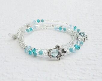 Aqua Hamsa Hand Eyeglass Necklace Holder, Turquoise Reading Glasses Chain, Aqua Blue Eyeglass Chain, Sunglasses Chain, Silver Beaded Lanyard