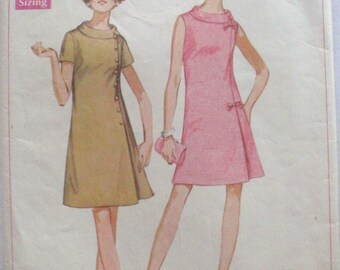 Vintage Half Size Dress Jiffy Sewing Pattern - Simplicity 8159 -  Size 20 1/2, Bust 43, Uncut - MISSING INSTRUCTIONS