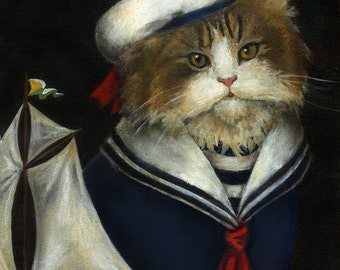 Cat Portrait Sailor, Cat Print, Nautical, Cat Art, Cat in Clothes, Cute Cat, Cat Lover's Gift, Funny Cat, Pet Portrait
