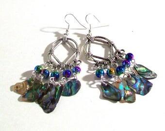 Chandelier Earrings, Abalone Paua Shell Silver Earrings, Abalone Earrings, Statement Earrings, Select Ear Wires