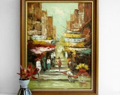 Reserved Listing - Mid Century Art, Urban Landscape, Oil Painting on Canvas, Semi Abstract, Asian City, Chinese Town, Vibrant Colours