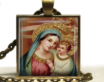Blessed Mother Madonna  Child Jesus Religious Glass Tile Pendant Necklace Virgin Mary Jesus