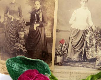 2 Antique Women with Flower Pots Cabinet Cards Gardening Plants Kansas Ladies