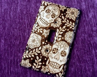Wood Light Switch Plate Cover - Sugar Skull Dia de los Muertos Pyrography Home Decor