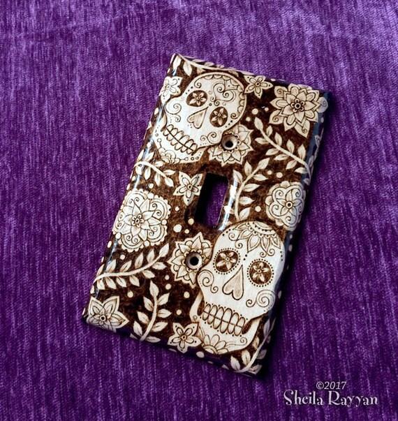 Wood Light Switch Plate Cover - Sugar Skull Dia de los Muertos Pyrography Home Decor