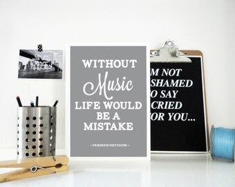 Print Life Without Music, Quote Art Print, Friedrich Nietzsche, Music Quote, Music Poster, Gift for Musician, Gift for Artist, Typography