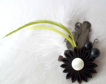 Unique Feather Fascinator with Kanzashi Flower Black Gray Chartreuse