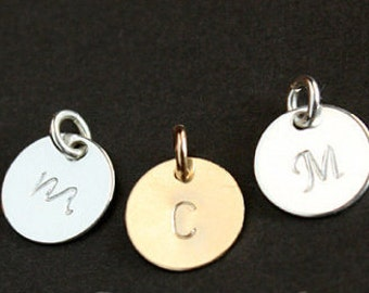 Initial Charm , Circle Sterling Silver Disc , Personalized Initial Pendant , Add-Ons , 9mm