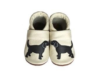 Leather Baby Booties, Dog Baby Shoes,  Infant Newborn Nursery Children Beige Black Puppy