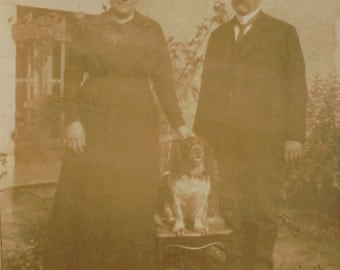 Antique French Photograph - Man & Woman with a Spaniel Dog