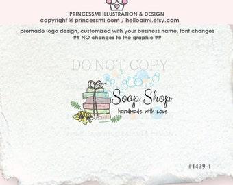 1439-1 SOAP logo design,  handmade soap logo, beauty logo, spa, handmade soap, business logo boutique by princessmi