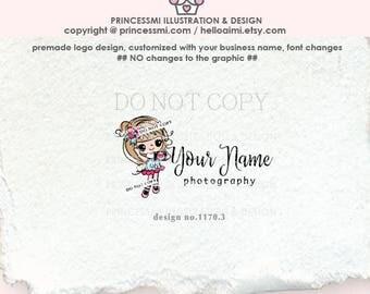 1170-3  photography logo,  little girl holding camera, photographer logo, blogger logo, photographer watermark, photo , logo design