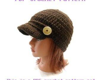 Newsboy Hat Pattern, Easy Crochet Pattern, Crochet Pattern Hat, Brimmed Hat Pattern, PDF Crochet Pattern, Instant Download, Brimmed Newsboy