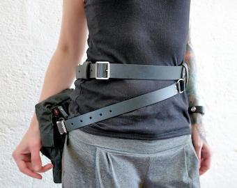 Vontoon Real Leather + Canvas, Rey inspired Belt + Bag, Black, cosplay, star wars, force awakens Please read description for sizing