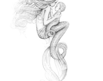 8x10 inch PRINT Mother Mermaid and Mer-Baby Art Graphite Pencil Drawing Black and White Tattoo Beautiful Mermaid Art Signed