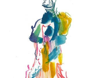 One of a Kind Abstract Figure Watercolor Painting, High Fashion Illustration - 402
