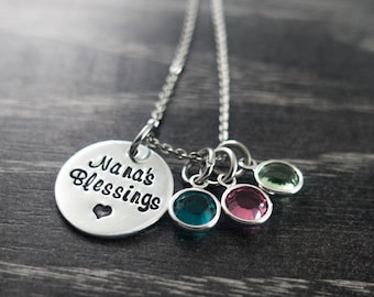 Personalized Grandma Necklace / Mimi Bangle / Birthstone Necklace / Nana's Blessings / Charm Necklace / Personalized / Hand Stamped