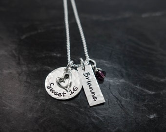 Sweet 16 / Sweet 16 Necklace / Sweet 16 Gift / Sweet 16 Birthday Gift / Personalized Hand Stamped Necklace