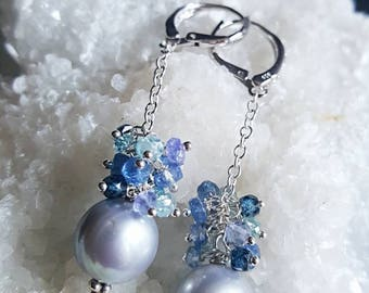 New! Grey Freshwater Pearl with Kyanite, Natural Blue Zircon, Tanzanite Gemstone Cluster Dangle Earrings in Sterling Silver Bridal Earrings