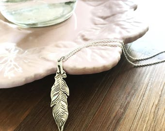Silver Feather Necklace, Fine Silver, Boho Festival Gypsy Jewelry, Rustic Woodland, Dainty Long Feather Charm, PMC Metal Clay, .999 FS