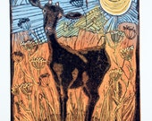 linocut, Goat and Anis, Blue, yellow, sunshine, mountains, farmhouse, printmaking, home interior, nature, landscape, farm, goat, terracotta