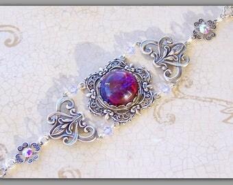 Victorian Bracelet - Art Nouveau Jewelry - Dragon's Breath, Victorian Jewelry, Art Nouveau Bracelet, Victorian Wedding, Medieval Bracelet