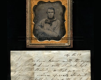 1/6 c 1851 Daguerreotype of a Handsome Gold Rush Miner / 49er - with Original Note!