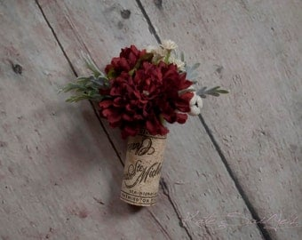 Wine Cork Boutonniere - Burgundy Pom Boutonniere with Dusty Miller